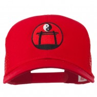 Martial Arts Yin and Yang Embroidered Mesh Cap - Red