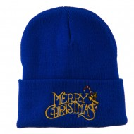 Merry Christmas with Candy Cane Embroidered Long Beanie - Royal