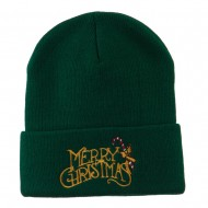 Merry Christmas with Candy Cane Embroidered Long Beanie - Green