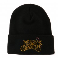 Merry Christmas with Candy Cane Embroidered Long Beanie - Black