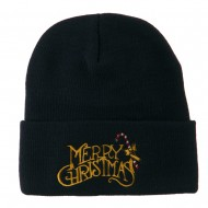 Merry Christmas with Candy Cane Embroidered Long Beanie - Navy