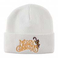 Merry Christmas with Candy Cane Embroidered Long Beanie - White