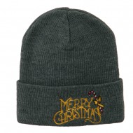Merry Christmas with Candy Cane Embroidered Long Beanie - Grey