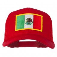 Mexico Flag Patched Mesh Cap - Red