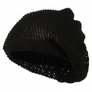 Mesh Deep Shell Beanie Hat - Black