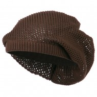 Mesh Deep Shell Beanie Hat - Brown