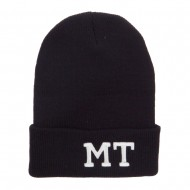 MT Montana State Embroidered Long Beanie - Black
