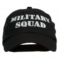 Military Squad Embroidered Low Profile Washed Cap - Black