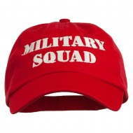 Military Squad Embroidered Low Profile Washed Cap - Red