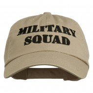 Military Squad Embroidered Low Profile Washed Cap - Khaki