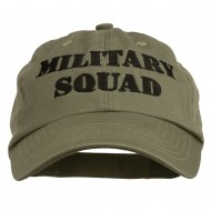 Military Squad Embroidered Low Profile Washed Cap - Olive