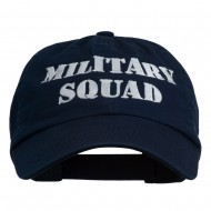 Military Squad Embroidered Low Profile Washed Cap - Navy