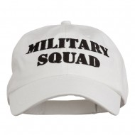 Military Squad Embroidered Low Profile Washed Cap - White