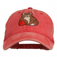 Bear Mascot Embroidered Washed Cap - Red