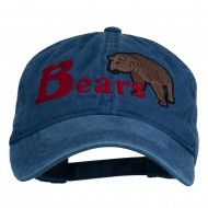 Bear Mascot Embroidered Washed Cap - Navy