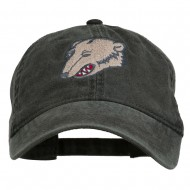 Bear Mascot Embroidered Washed Cap - Black