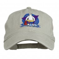 Bear Mascot Embroidered Washed Cap - Stone Grey