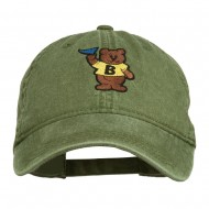 Bear Mascot Embroidered Washed Cap - Olive Green