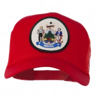 Maine State Patched Mesh Cap - Red