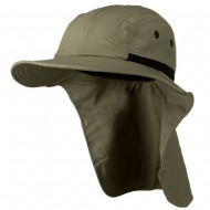 Mesh Sun Protection Flap Hat - Olive