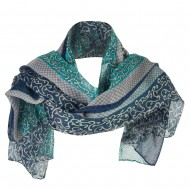Strip Vine Motif Summer Scarf - Blue