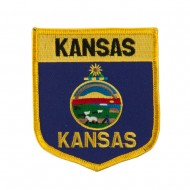 Mid State Flag Embroidered Patch Shield - Kansas