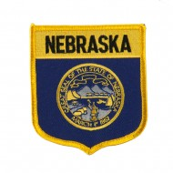 Mid State Flag Embroidered Patch Shield - Nebraska