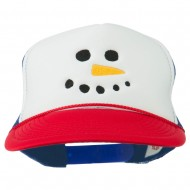 Snowman Face Embroidered Foam Mesh Cap - Red White Royal