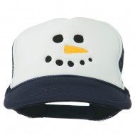 Snowman Face Embroidered Foam Mesh Cap - Navy White