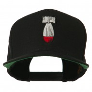 Missile Flat Bill Embroidered Baseball Cap - Black
