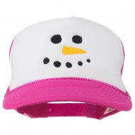 Snowman Face Embroidered Foam Mesh Cap - Hot Pink White