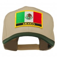Mexico Flag Cotton Twill Pro Style Patched Cap - Green Khaki