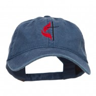 Methodist Church Cross Embroidered Washed Cap - Navy