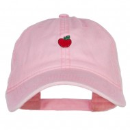 Mini Apple Embroidered Washed Cap - Pink