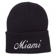 City of Miami Embroidered Long Beanie - Black