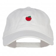 Mini Apple Embroidered Washed Cap - White