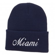 City of Miami Embroidered Long Beanie - Navy