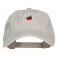 Mini Apple Embroidered Washed Cap - Stone