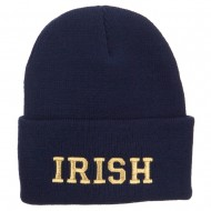 Irish Embroidered Cuff Long Knit Beanie - Navy
