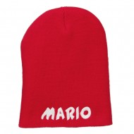 Mario Letter Embroidered Short Beanie - Red