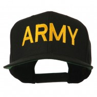 Army Military Embroidered Snapback Cap - Black