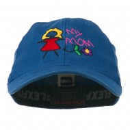 Youth My Mom with Flower Embroidered Flexfit Washed Cap - Royal