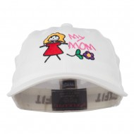 Youth My Mom with Flower Embroidered Flexfit Washed Cap - White