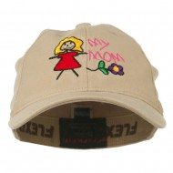 Youth My Mom with Flower Embroidered Flexfit Washed Cap - Khaki