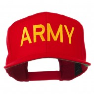 Army Military Embroidered Snapback Cap - Red