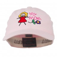 Youth My Mom with Flower Embroidered Flexfit Washed Cap - Pink