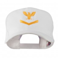 Military Naval Stripe with Eagle Emblem Embroidered Cap - White