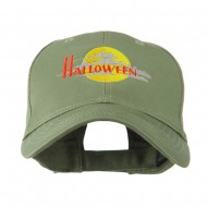 Halloween Moon Embroidered Cap - Olive