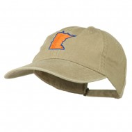 Minnesota State Map Embroidered Washed Cotton Cap - Khaki