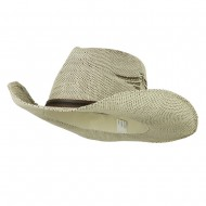 Men's Paper Straw Cowboy Hat with Eagle Design - White Brown